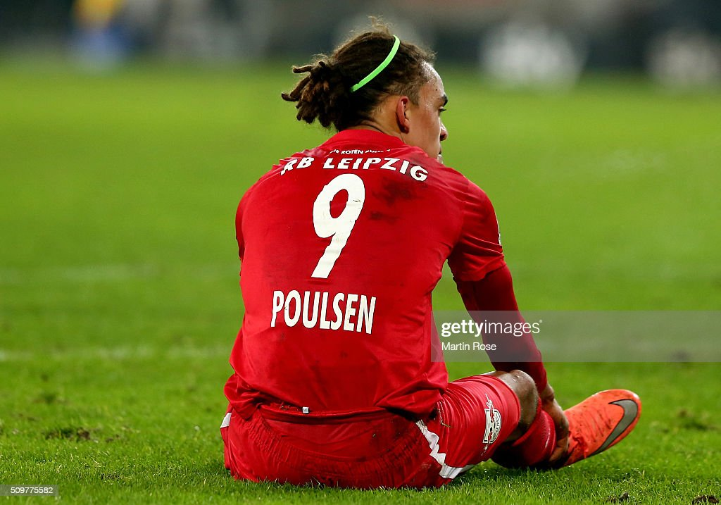 <a gi-track='captionPersonalityLinkClicked' href=/galleries/search?phrase=Yussuf+Poulsen&family=editorial&specificpeople=7753748 ng-click='$event.stopPropagation()'>Yussuf Poulsen</a> of Leipzig reacts during the second Bundesliga match between FC St. Pauli and RB Leipzig at Millerntor Stadium on February 12, 2016 in Hamburg, Germany.