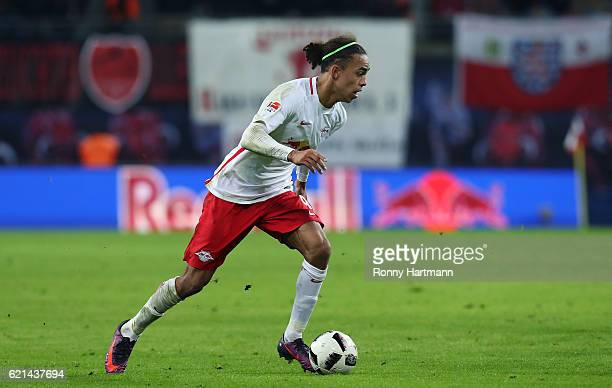 Yussuf Poulsen of Leipzig runs with the ball during the Bundesliga match between RB Leipzig and 1 FSV Mainz 05 at Red Bull Arena on November 6 2016...