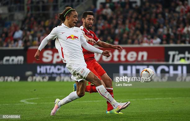 Yussuf Poulsen of Leipzig scores his teams first goal during the Second Bundesliga match between Fortuna Duesseldorf and RB Leipzig at EspritArena on...