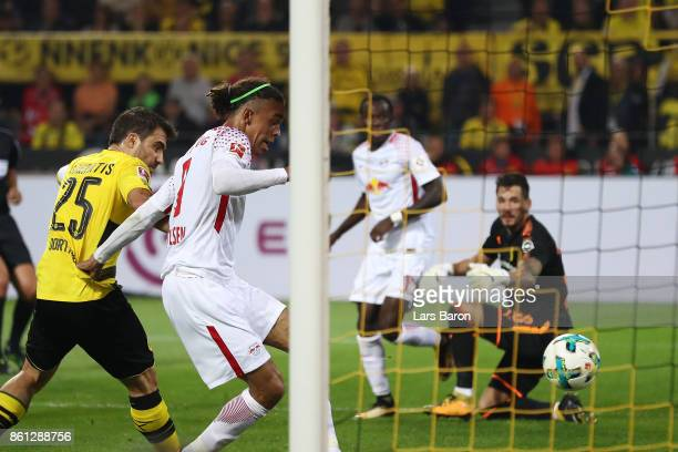 Yussuf Poulsen of Leipzig scores his teams second goal to make it 12 during the Bundesliga match between Borussia Dortmund and RB Leipzig at Signal...