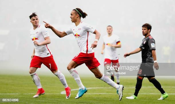 Yussuf Poulsen of RB Leipzig celebrates with team mates after scoring his team's third goal during the Bundesliga match between RB Leipzig and Bayern...