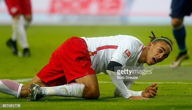 Yussuf Poulsen of RB Leipzig reacts during the Bundesliga match between RB Leipzig and FC Schalke 04 at Red Bull Arena on December 3 2016 in Leipzig...