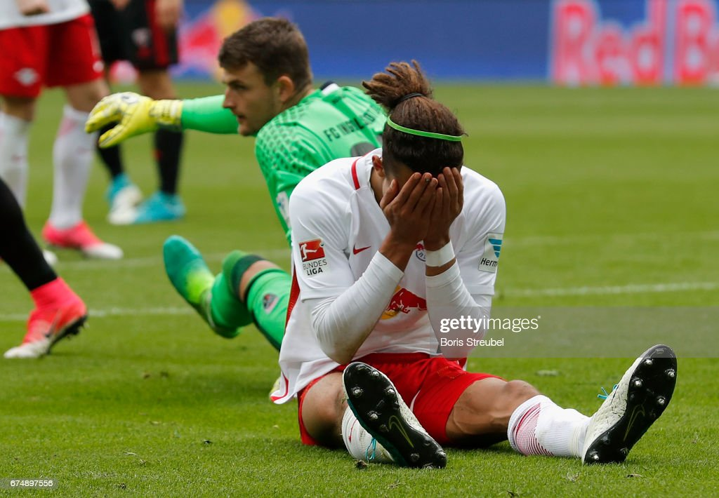 Yussuf Poulsen of RB Leipzig reacts during the Bundesliga match between RB Leipzig and FC Ingolstadt 04 at Red Bull Arena on April 29, 2017 in Leipzig, Germany.
