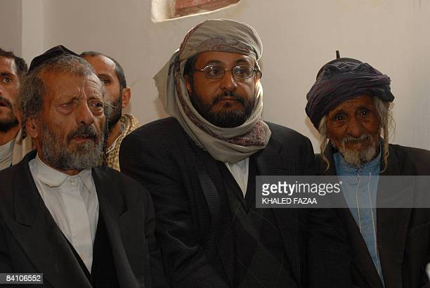 Yussuf the father of a Yemeni Jews killed earlier this month in the northern town of Raydah 70 kms north of the capital Sanaa attends with other...