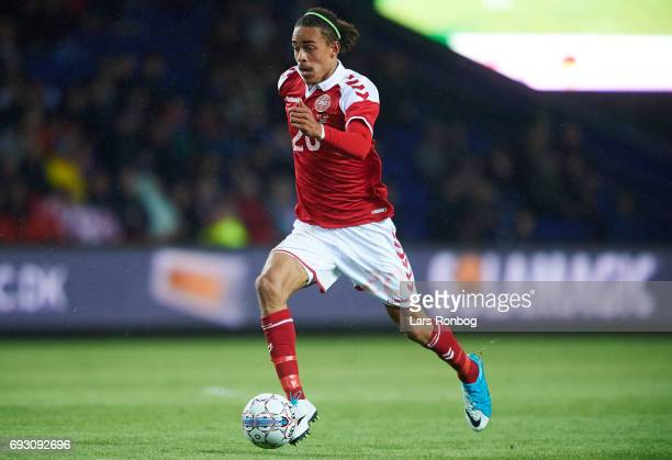 Yussuf Yurary Poulsen of Denmark controls the ball during the international friendly match between Denmark and Germany at Brondby Stadion on June 6...