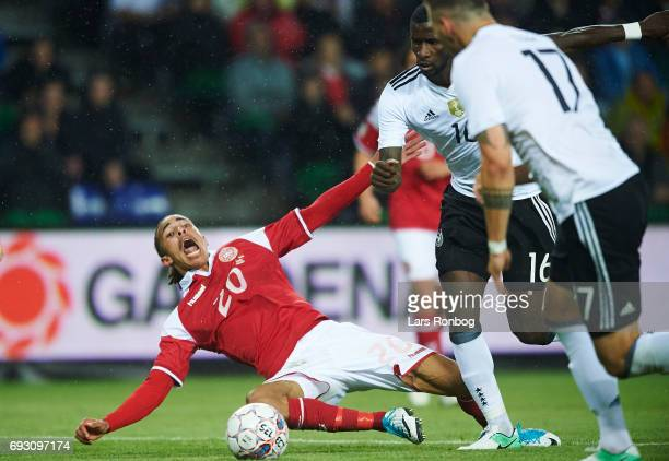 Yussuf Yurary Poulsen of Denmark in action during the international friendly match between Denmark and Germany at Brondby Stadion on June 6 2017 in...