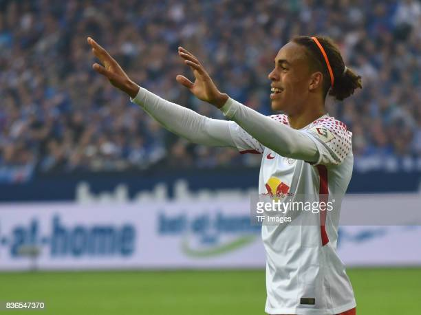 Yussuf Yurary Poulsen of Leipzig gestures during the Bundesliga match between FC Schalke 04 and RB Leipzig at VeltinsArena on August 19 2017 in...