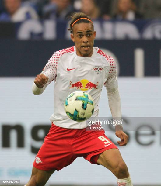 Yussuf Yurary Poulsen of Leipzig in action during the Bundesliga match between FC Schalke 04 and RB Leipzig at VeltinsArena on August 19 2017 in...