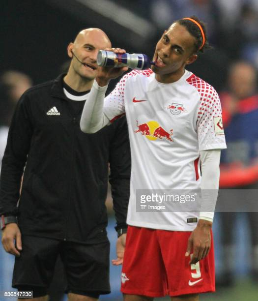 Yussuf Yurary Poulsen of Leipzig looks on during the Bundesliga match between FC Schalke 04 and RB Leipzig at VeltinsArena on August 19 2017 in...
