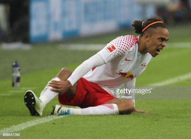 Yussuf Yurary Poulsen of Leipzig on the ground during the Bundesliga match between FC Schalke 04 and RB Leipzig at VeltinsArena on August 19 2017 in...