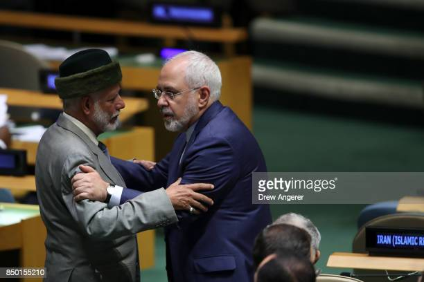 Yusuf bin Alawi bin Abdullah foreign minister of Oman speaks with Mohammad Javad Zarif Khonsari the foreign minister of Iran during the United...