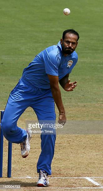Yusuf Pathan of Baroda in action during the Syed Mushtaq Ali Twenty20 final between Punjab and Baroda on March 27 2012 in Mumbai India Baroda beat...