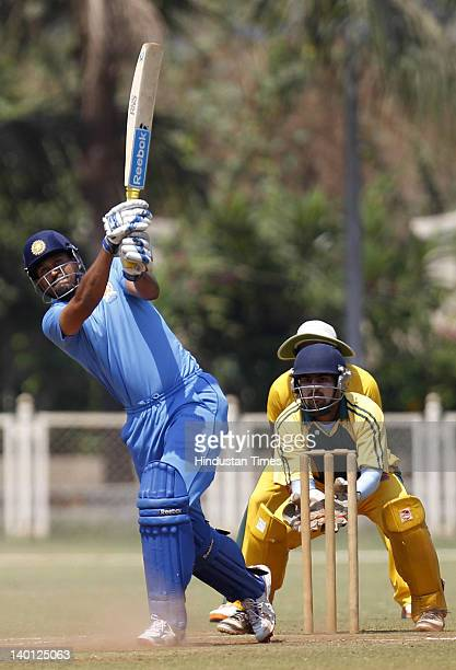 Yusuf Pathan of Baroda plays a shot during the Vijay Hazare Trophy one day match between Maharashtra and Baroda at Bandra Kurla Complex ground on...