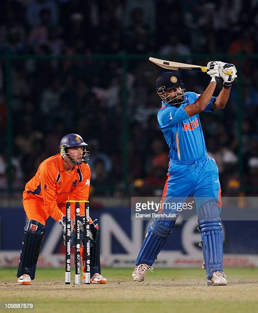 Yusuf Pathan of India bats during the 2011 ICC Cricket World Cup Group B match between India and the Netherlands at Feroz Shah Kotla stadium on March...