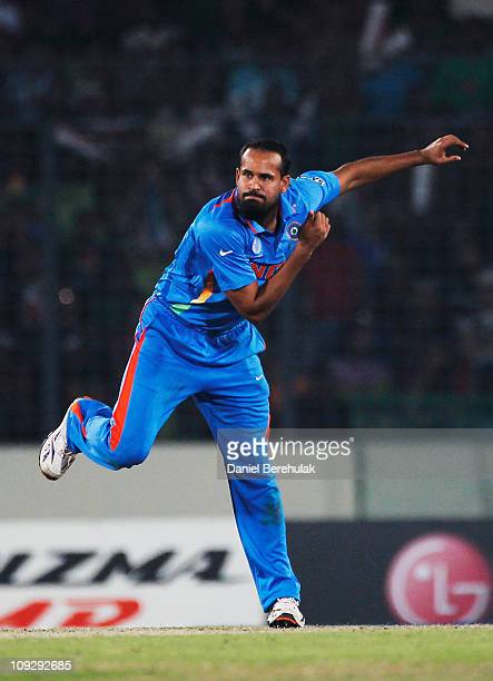 Yusuf Pathan of India bowls during the opening game of the ICC Cricket World Cup between Bangladesh and India at the ShereeBangla National Stadium on...