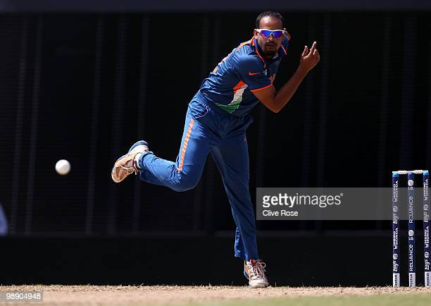Yusuf Pathan of India in action during the ICC World Twenty20 Super Eight match between Australia and India at the Kensington Oval on May 7 2010 in...