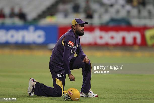 Yusuf Pathan of the Kolkata Knight Riders looks on during the Karbonn Smart CLT20 match between Kolkata Knight Riders and Auckland Aces at Sahara...