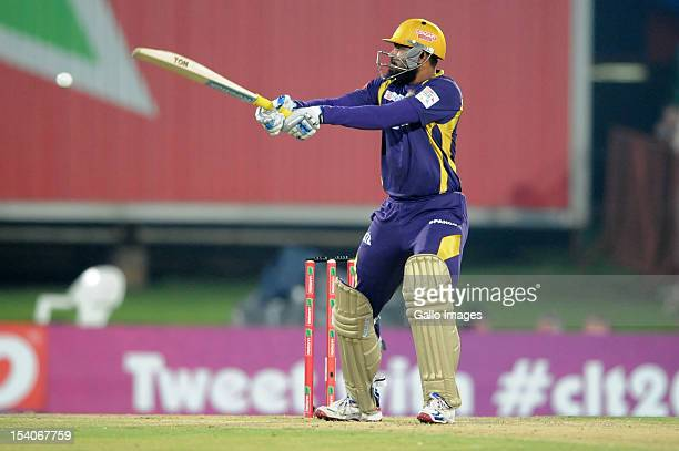 Yusuf Pathan of the Kolkata Knights bats during the Karbonn Smart CLT20 match between Kolkata Knight Riders and Delhi Daredevils at SuperSport Park...