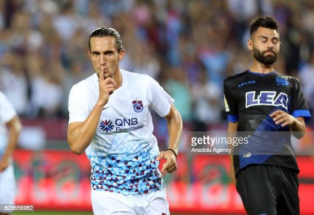 Yusuf Yazici of Trabzonspor celebrates after scoring a goal during the football match between Trabzonspor and Deportivo Alaves within the 50th...