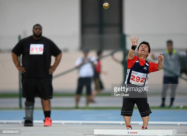Yusuke Ishiguro of Japan competes in Shot Put Men during the 9th Fazza International IPC Athletics Grand Prix Competition World Para Athletics Grand...