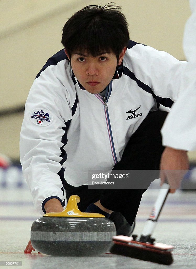 Yusuke Morozumi of Japan in action during the Pacific Asia 2012 Curling Championship at the Naseby Indoor Curling Arena on November 23, 2012 in Naseby, New Zealand.