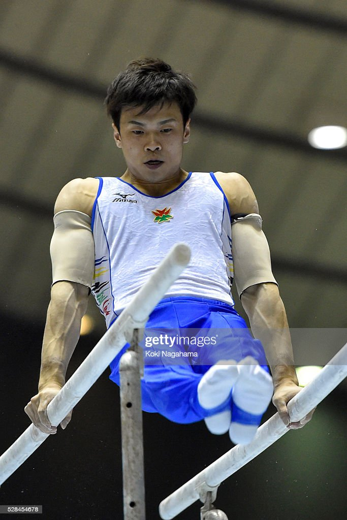 Yusuke Saito competes in the Parallel Bars during the Artistic Gymnastics NHK Trophy at Yoyogi National Gymnasium on May 5, 2016 in Tokyo, Japan.