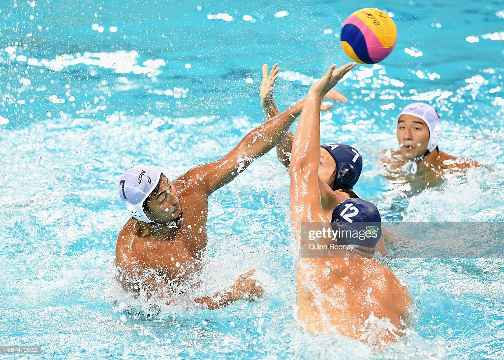 Yusuke Shimizu of Japan shoots for goal during the Men's Prelimimary Round Group B match between Japan and Brazil on Day 3 of the Rio 2016 Olympic Games at Maria Lenk Aquatics Centre on August 8, 2016 in Rio de Janeiro, Brazil.