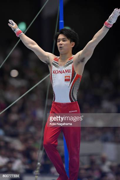 Yusuke Tanaka celebrates after competing in the Horizontal Bar during Japan National Gymnastics Apparatus Championships at the Takasaki Arena on June...