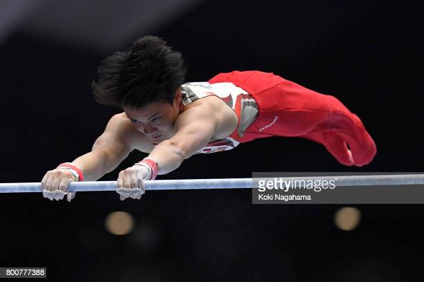 Yusuke Tanaka competes in the Horizontal Bar during Japan National Gymnastics Apparatus Championships at the Takasaki Arena on June 25 2017 in...