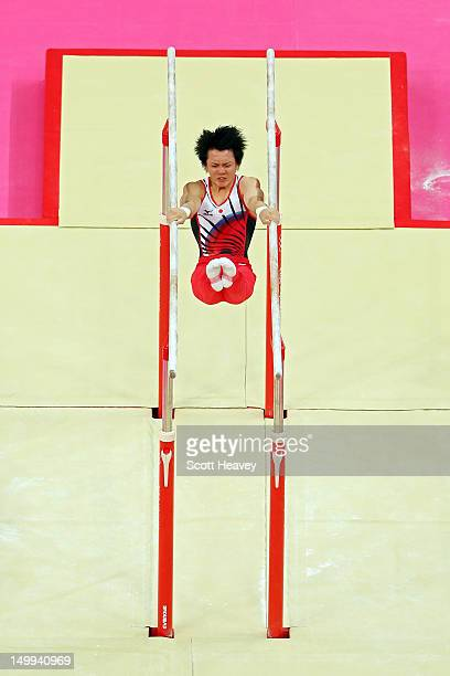 Yusuke Tanaka of Japan competes in the Artistic Gymnastics Men's Parallel Bar final on Day 11 of the London 2012 Olympic Games at North Greenwich...
