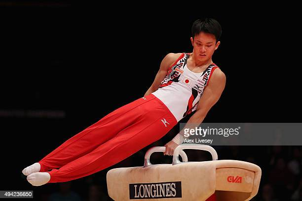 Yusuke Tanaka of Japan competes in the Pommel during Day Three of the 2015 World Artistic Gymnastics Championships at The SSE Hydro on October 25...