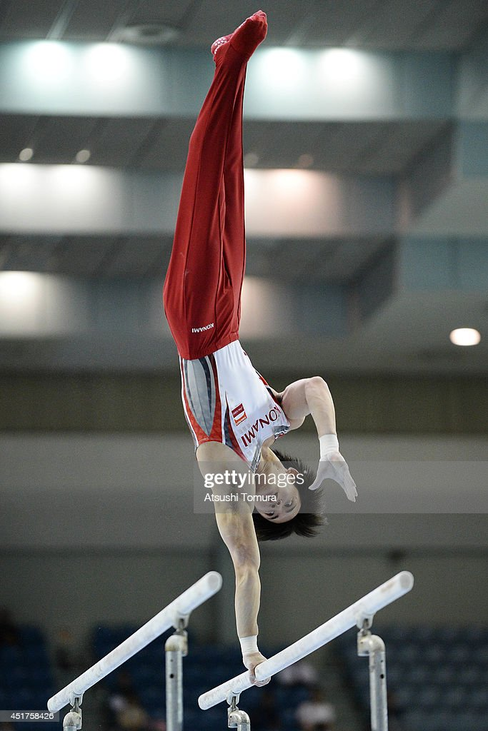 Yusuke Tanaka of Japan competes on the Parallel Bars during the 68th All Japan Gymnastics Apparatus Championships on July 6, 2014 in Chiba, Japan.