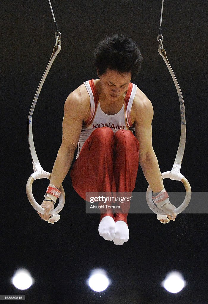 Yusuke Tanaka of Japan competes on the rings during day two of the 67th All Japan Artistic Gymnastics Individual All Around Championship at Yoyogi National Gymnasium on May 12, 2013 in Tokyo, Japan.