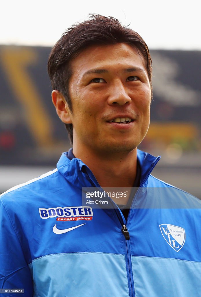 Yusuke Tasaka of Bochum looks on prior to the DFB Cup second round match between Eintracht Frankfurt and VfL Bochum at Commerzbank-Arena on September 25, 2013 in Frankfurt am Main, Germany.