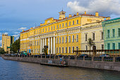 The facade of the Yusupov Palace also called Moika Palace on the namesake river