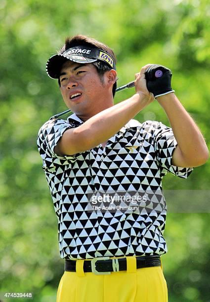 Yuta Ikeda of Japan hits a tee shot during the final round of the San Chlorella Classic at Otaru Country Club on July 31 2011 in Otaru Hokkaido Japan