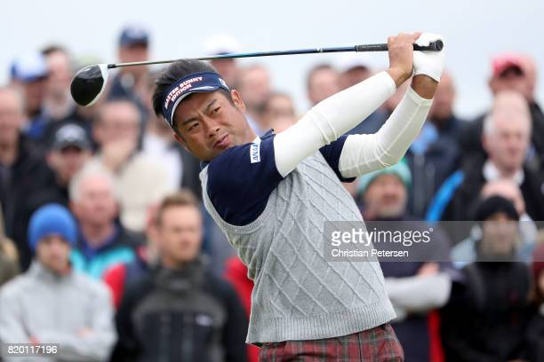 Yuta Ikeda of Japan hits his tee shot on the 9th hole during the second round of the 146th Open Championship at Royal Birkdale on July 21 2017 in...