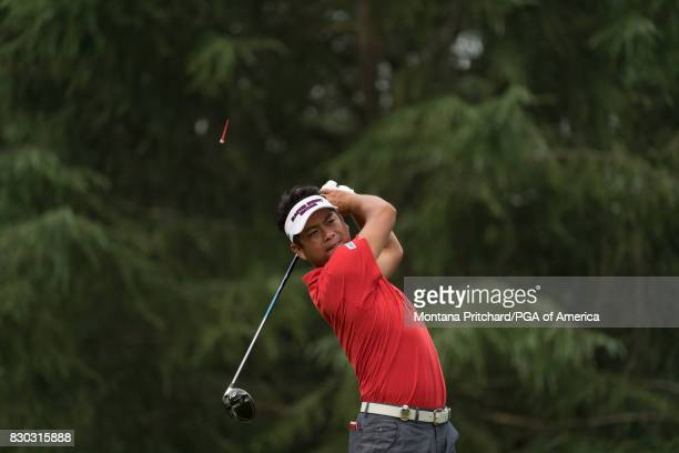 Yuta Ikeda of Japan hits his tee shot on the ninth hole during Round Two for the 99th PGA Championship held at Quail Hollow Club on August 11 2017 in...