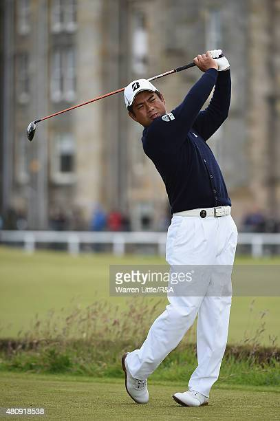 Yuta Ikeda of Japan hits his tee shot on the second hole during the first round of the 144th Open Championship at The Old Course on July 16 2015 in...