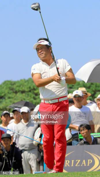 Yuta Ikeda of Japan htis a tee shot on the first hole during the final round of the RIZAP KBC Augusta at Keya Golf Club on August 27 2017 in Itoshima...