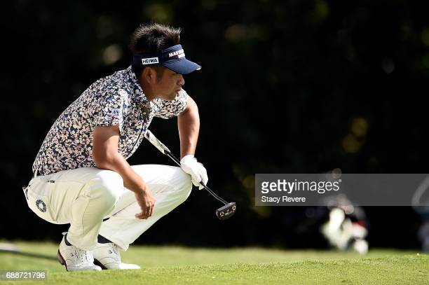 Yuta Ikeda of Japan lines up a putt on the fifth green during Round Two of the DEAN DELUCA Invitational at Colonial Country Club on May 26 2017 in...