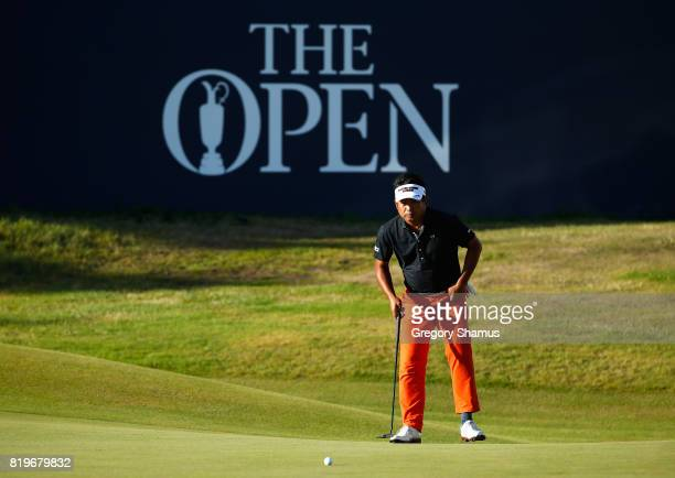 Yuta Ikeda of Japan lines up his birdie putt on the 18th hole during the first round of the 146th Open Championship at Royal Birkdale on July 20 2017...