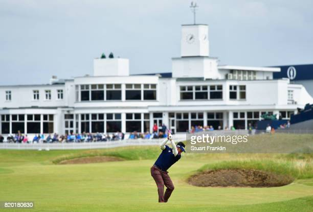 Yuta Ikeda of Japan plays an approach on the 18th hole during the second round of the 146th Open Championship at Royal Birkdale on July 21 2017 in...