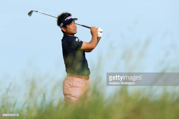 Yuta Ikeda of Japan plays his shot from the 13th tee during the second round of the 2017 US Open at Erin Hills on June 16 2017 in Hartford Wisconsin
