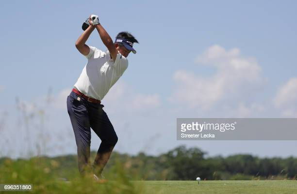 Yuta Ikeda of Japan plays his shot from the fourth tee during the first round of the 2017 US Open at Erin Hills on June 15 2017 in Hartford Wisconsin