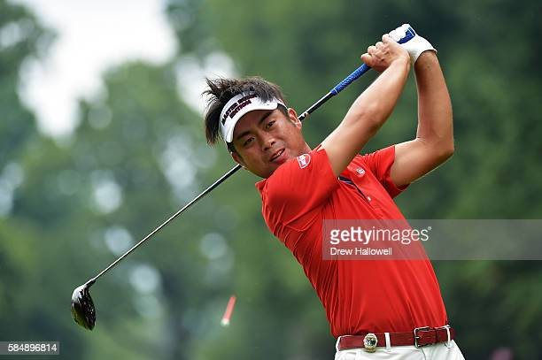 Yuta Ikeda of Japan plays his shot from the sixth tee during the final round of the 2016 PGA Championship at Baltusrol Golf Club on July 31 2016 in...