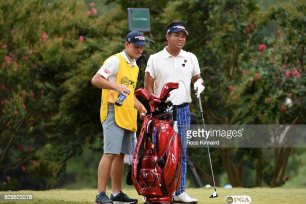 Yuta Ikeda of Japan prepares to hit off the second tee during the first round of the 2017 PGA Championship at Quail Hollow Club on August 10 2017 in...