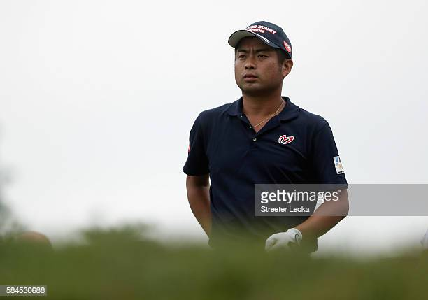 Yuta Ikeda of Japan prepares to play his shot from the 18th tee during the second round of the 2016 PGA Championship at Baltusrol Golf Club on July...