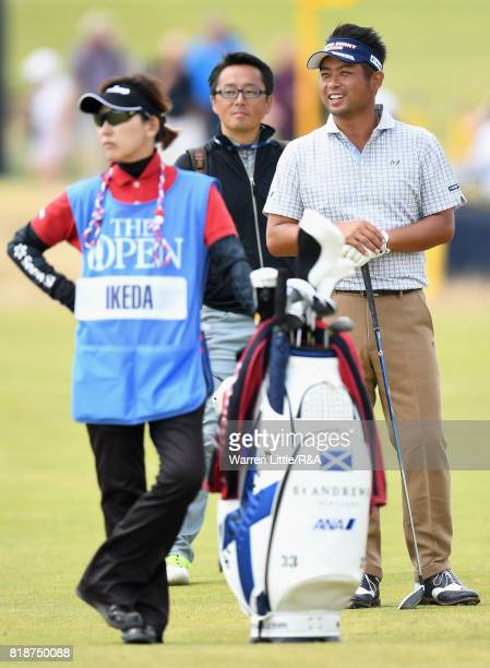 Yuta Ikeda of Japan reacts during a practice round prior to the 146th Open Championship at Royal Birkdale on July 19 2017 in Southport England