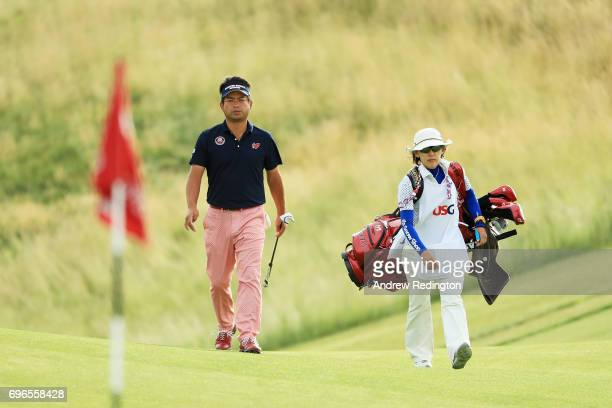 Yuta Ikeda of Japan walks to the 12th green during the second round of the 2017 US Open at Erin Hills on June 16 2017 in Hartford Wisconsin